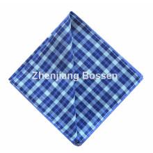 OEM Produce Blue Checked Printed Cotton Men′s Suit Handkerchief