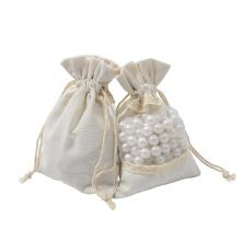 Organic Natural Eco Friendly Drawstring jewelry storage Gift Bag white cotton jewellery bag