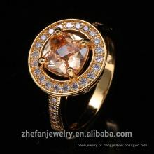 Anéis de casamento de ouro amarelo de forma redonda para atacado