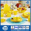 Квадратная форма большая индивидуальная цветная глазурь оптовые керамические чайники, желтый цвет глазурованный набор для ежедневного использования