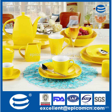 square shape large customized color glaze wholesale ceramic tea pots, yellow color glazed dinner set for daily use