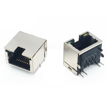 RJ45 JACK SLIM TYPE RIGHT H = 11,2 mm ΜΕ LED