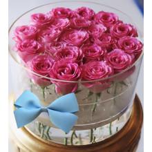 Boîte de conditionnement de fleurs en acrylique ronde en gros de luxe