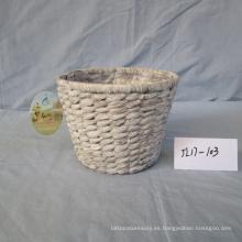 Cesta redonda de jacinto de agua blanca