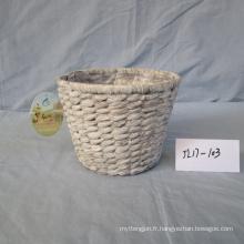 Panier rond en jacinthe d'eau blanche