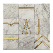 Soulscrafts Gold Brass Carrara Marble Blend Waterjet Mosaic Tile