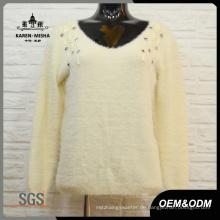 Frauen Fashion White Bead V-Ausschnitt Pullover