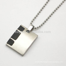 Rectangle Shape Blank Stainless Steel Men Necklace With Black Enamel