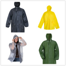 Vattentät PVC Rain Coat Hooded Rain Jacket