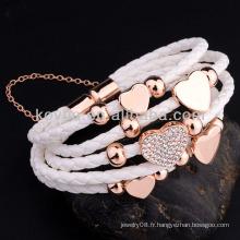 Bracelets en cuir de mode avec bracelet en cuir à fermoir magnétique