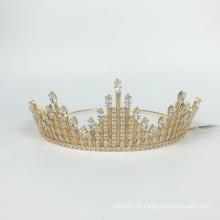 Grande venda de acessórios para o cabelo de casamento coroa dourada cocar coroa e coroa de strass