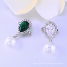 Diseño de moda AAA cz y perla 925 plata rodio broche