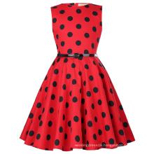 Kate Kasin Kids Sleeveless Vintage Retro Cotton Black Dots Pattern Vintage Girls Summer Dress KK000250-15