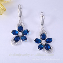 Alibaba fashion silver cz crystal gemstone gold plated earrings for bridal