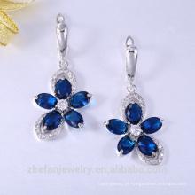 Alibaba moda prata cz cristal gemstone banhado a ouro brincos para noivas