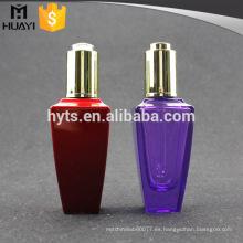 Botella de cristal vacía colorida al por mayor del aceite esencial 50ml con el dropper de la prensa