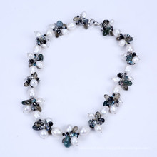 New Style Freshwater Pearl and Drop Shape Crystal Necklace
