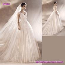 Vestido de novia sin mangas con vestido de novia y corpiño de encaje