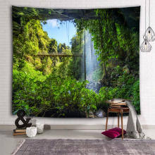 Mountain Cave Wall Tapestry Waterfall Nature Green Tapestry Wall Hanging for Livingroom Bedroom Dorm Home Decor
