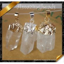 Fashion Pendant, Crystal Quartz Stone Pendant Witih Silver Plating (YAD001)