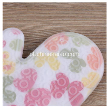 Euro Kitchen Algodão Flower Pattern Silicone Gloves