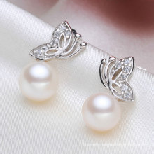 Cultured Freshwater Pearl Earring Button Fly Shape