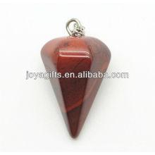 6 Side Cone Forma Pingente Pedra Vermelha pingente de pedra preciosa semi