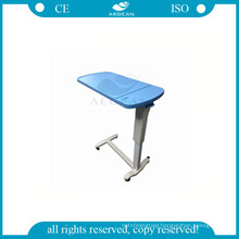 AG-OBT003B ABS adjustable medical over the bed tray table with brakes