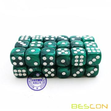 Bescon 12mm 6 Sided Dice 36 in Brick Box, 12mm Six Sided Die (36) Block of Dice, Marble Green