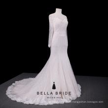 Erschwingliche Brautkleid Brautkleid lange Ärmel aus Schulter Spitze Kleider für Hochzeiten Elfenbein Braut tragen