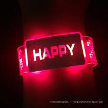 2016 Nouveau led Happy Light Bracelet avec batterie