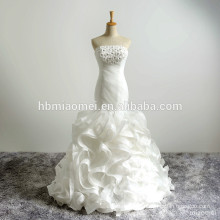 Latest Design Strapless Beaded Lace Mermaid Summer Wedding Dresses Train Bridal Gown Fish Style Wedding Dress