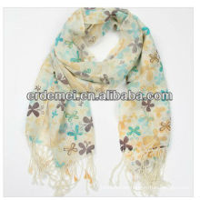 Lady's printed cashmere feel acrylic scarf