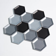 Mixed Color Hexagon Glass Materials Mexican Mosaic Tile