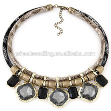 Vente en gros Bijoux Collier en cuir de pierre double en pierre
