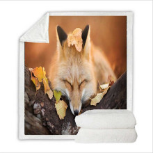 Super Soft Flannel Feelce Cover Blanket Bedding Set King Size with 3D Digital Printing Fox