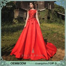 Wulstige Schatzmuster rote Frauen Abendkleid lange Kittel Designs Satin Partei Abnutzung Kleider für Damen