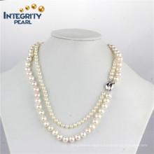 5mm &7.5-8.5mm Near Round AA Freshwater Double Pearl Necklace
