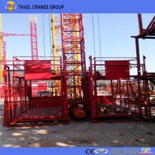 Elevador de construcción de jaula doble de 1 ton