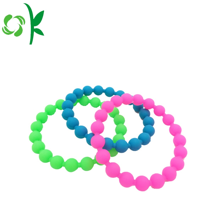 Pink Silicone Bead Wristbands