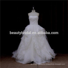 LA5099 plisado organza ruffle diseño vestido de novia vestido de novia sin tirantes 2016