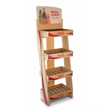 Supermarket Drinks Retail Factory Price 4-Layer Wooden Shelves Grid Wire Holder Table Top Display Shelf