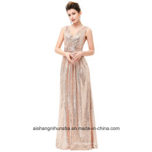 Luxury Gold Silver Evening Dress Sequins Double V-Neck Evening Dress