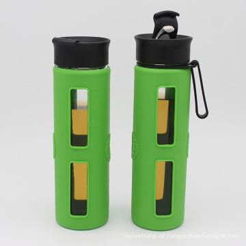 Single Wall Glas Wasserflasche mit Flip Cap