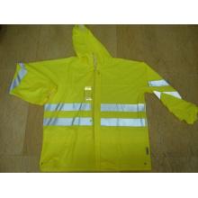 Yj-6050 Fluorescent vert PU Moto Rain Gear Jacket Manteau Rainwear
