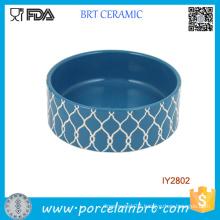 Striped Embossed Design Ceramic Pet Bowl Pet Accessories
