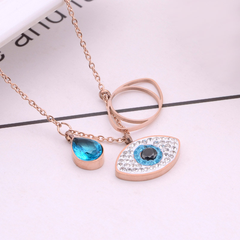 Rose Gold Evil Eye Necklace