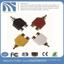 AV Male to 2 Female Splitter RCA Y Plug Adapter for TV Cable Convert