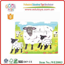 2015 fashion good wood & wooden animal puzzles