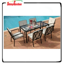 7pcs dining furniture, glass dinner set, glass and metal dining table and chair set